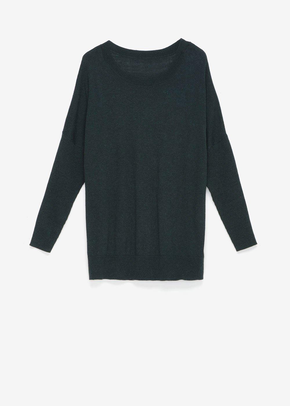 Marlen sweater with boat neckline - Muschio - Woman