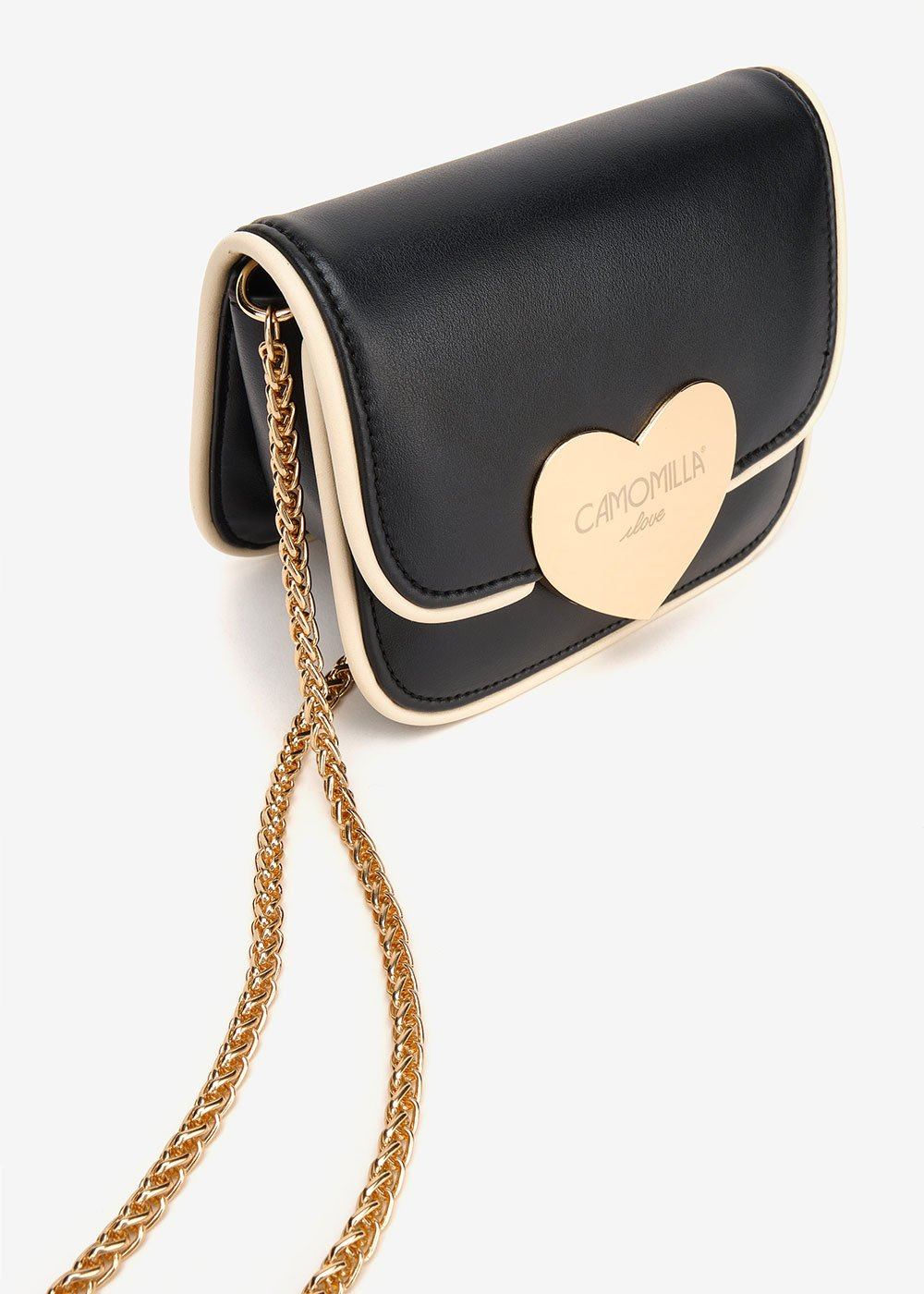 Biping clutch bag with macro heart-shaped closure - Black / Off-White - Woman