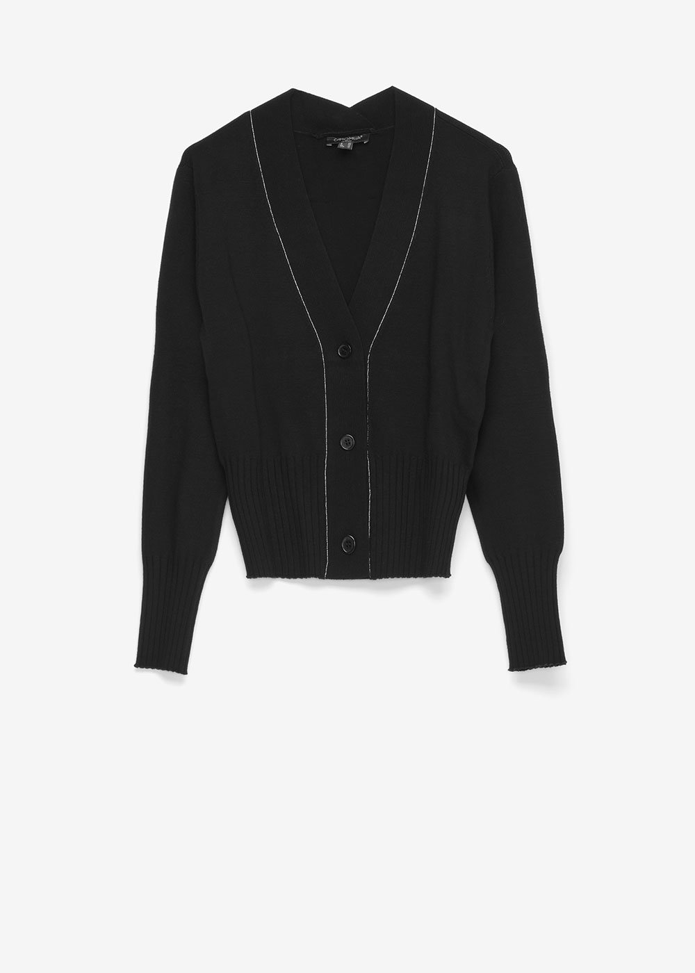 Cryss V-neck cardigan - Black / Silver - Woman