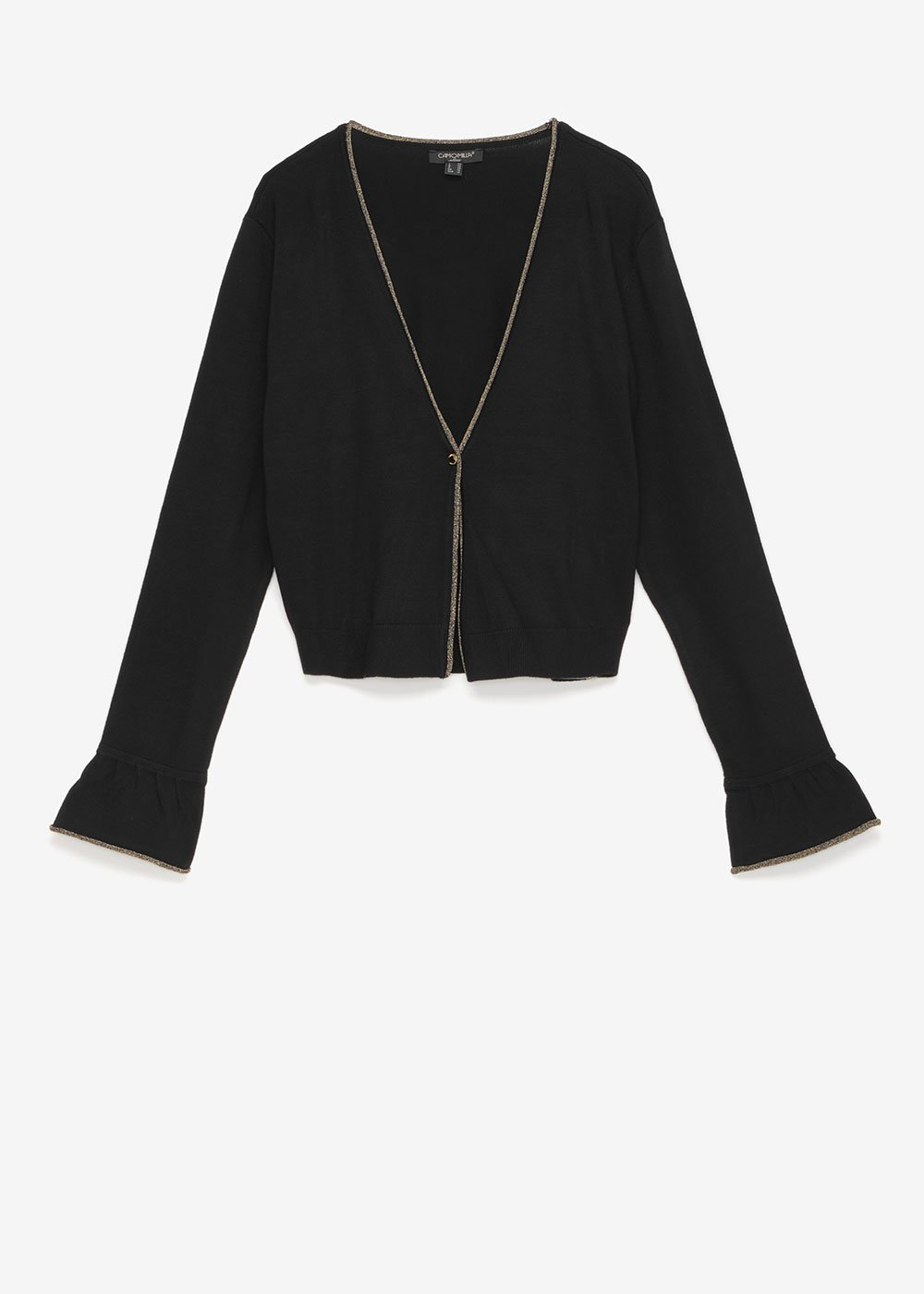 Crystal shrug with lurex edge - Black\ Gold - Woman