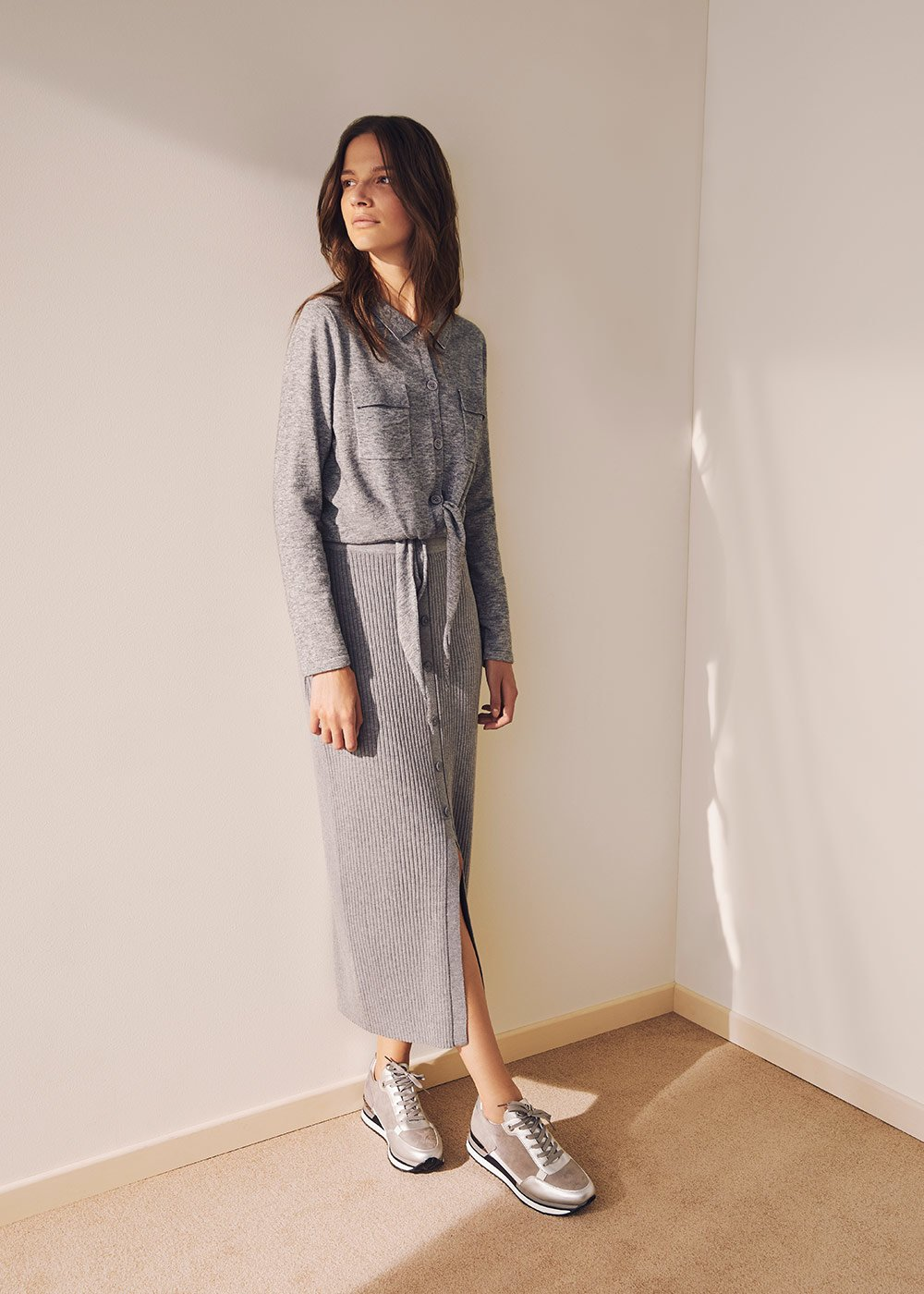 Sorey cardigan with knot at the bottom - Grey Melange - Woman