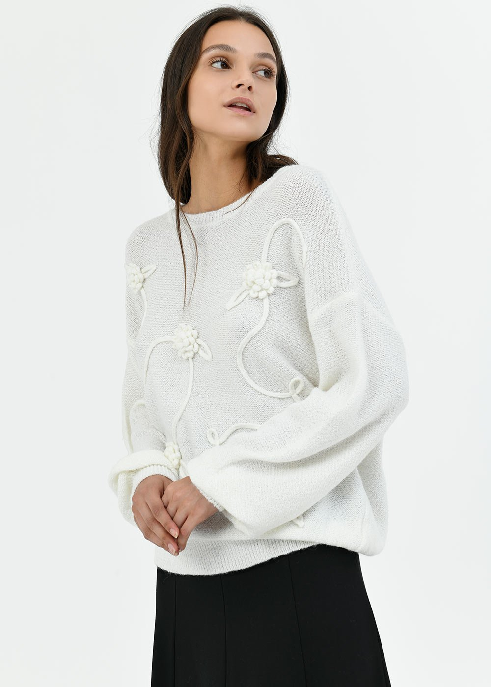 Mary sweater with puff sleeve - White - Woman