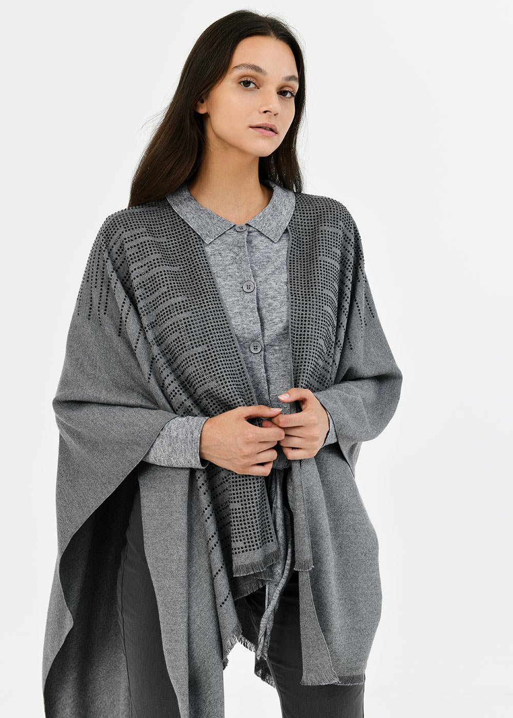 Meret cape with crystals - Medium Grey - Woman