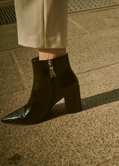 Sary patent faux-leather ankle boot with square heel