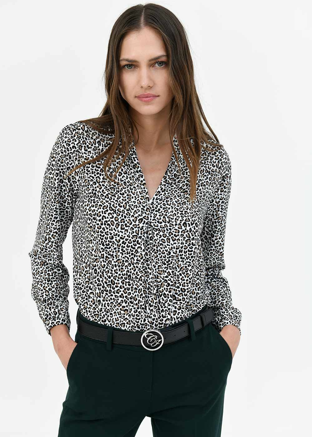 Stefanie t-shirt with micro-spotted pattern - White / Doeskin / Fantasia - Woman