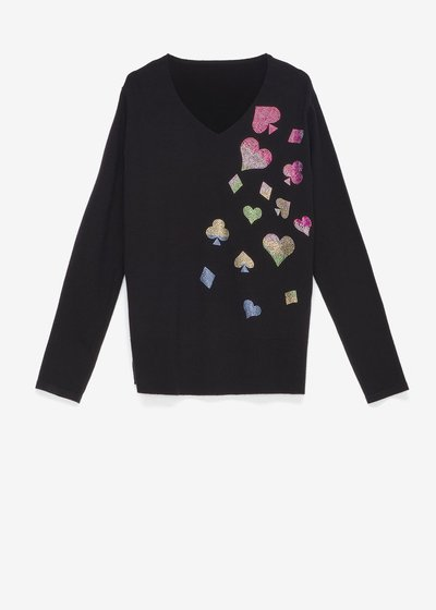 Maryl sweater with rhinestone appliqué
