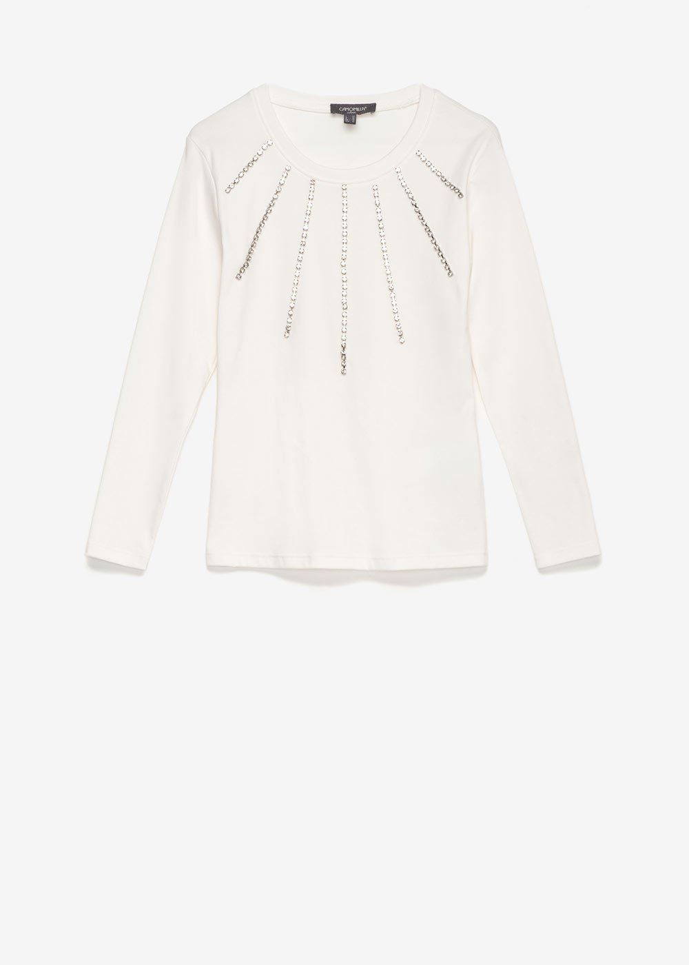 T-shirt Sabrin con strass - White - Donna