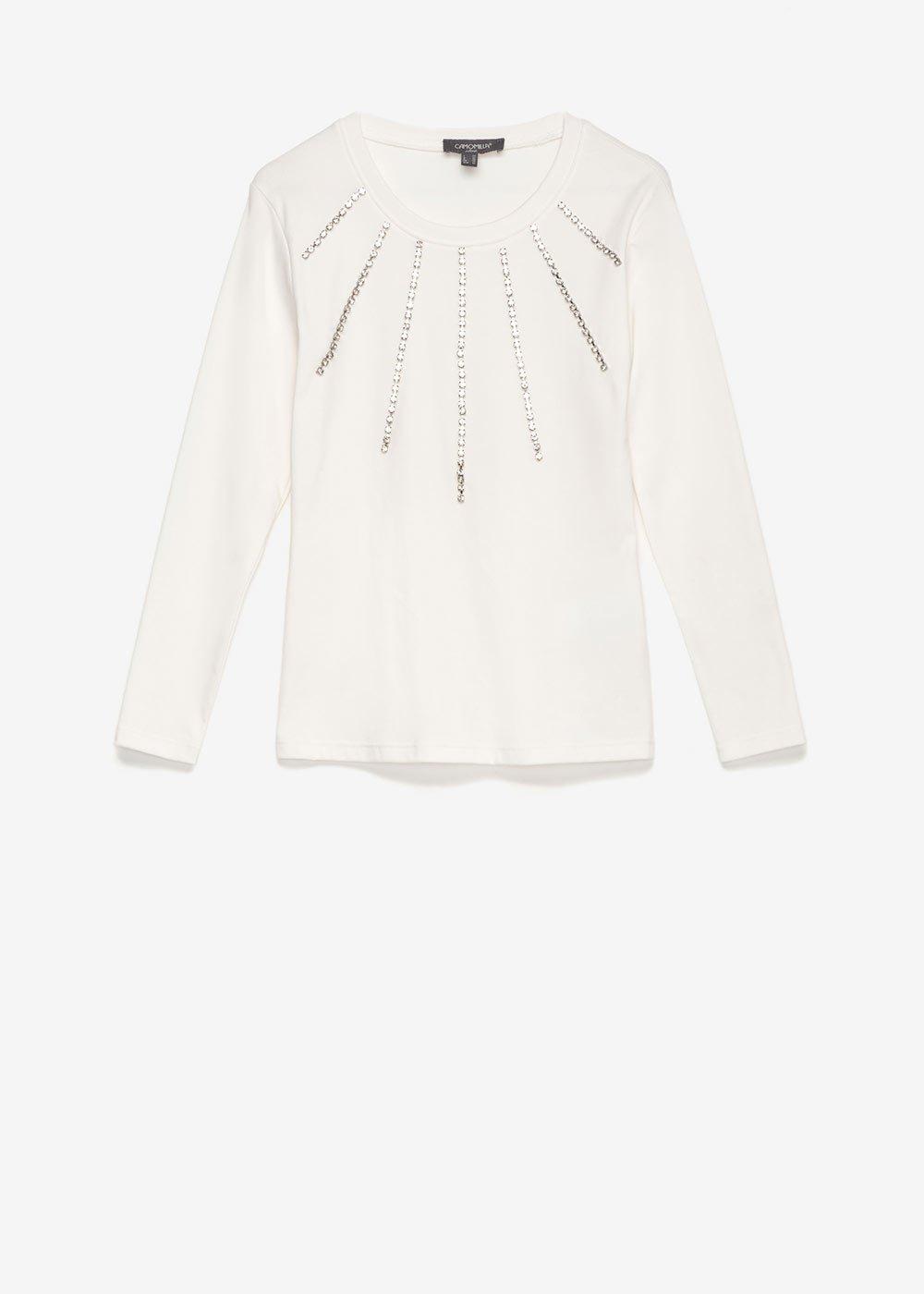 Sabrin t-shirt with rhinestones - White - Woman