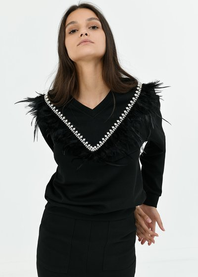 Sonya sweatshirt with feather detail