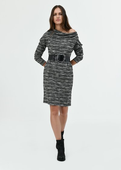 Andres jacquard dress with waist belt