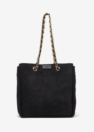 Blanch, bag in eco suede with chain shoulder strap