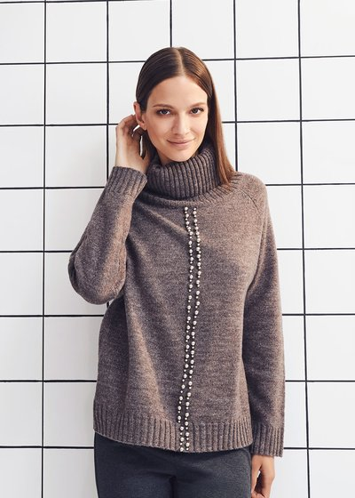Marisa turtleneck sweater with studs