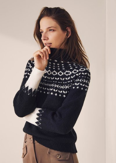 Mikela wool sweater with Norwegian pattern