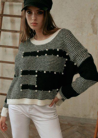 Mirian Bicolor Sweater with Round Neckline