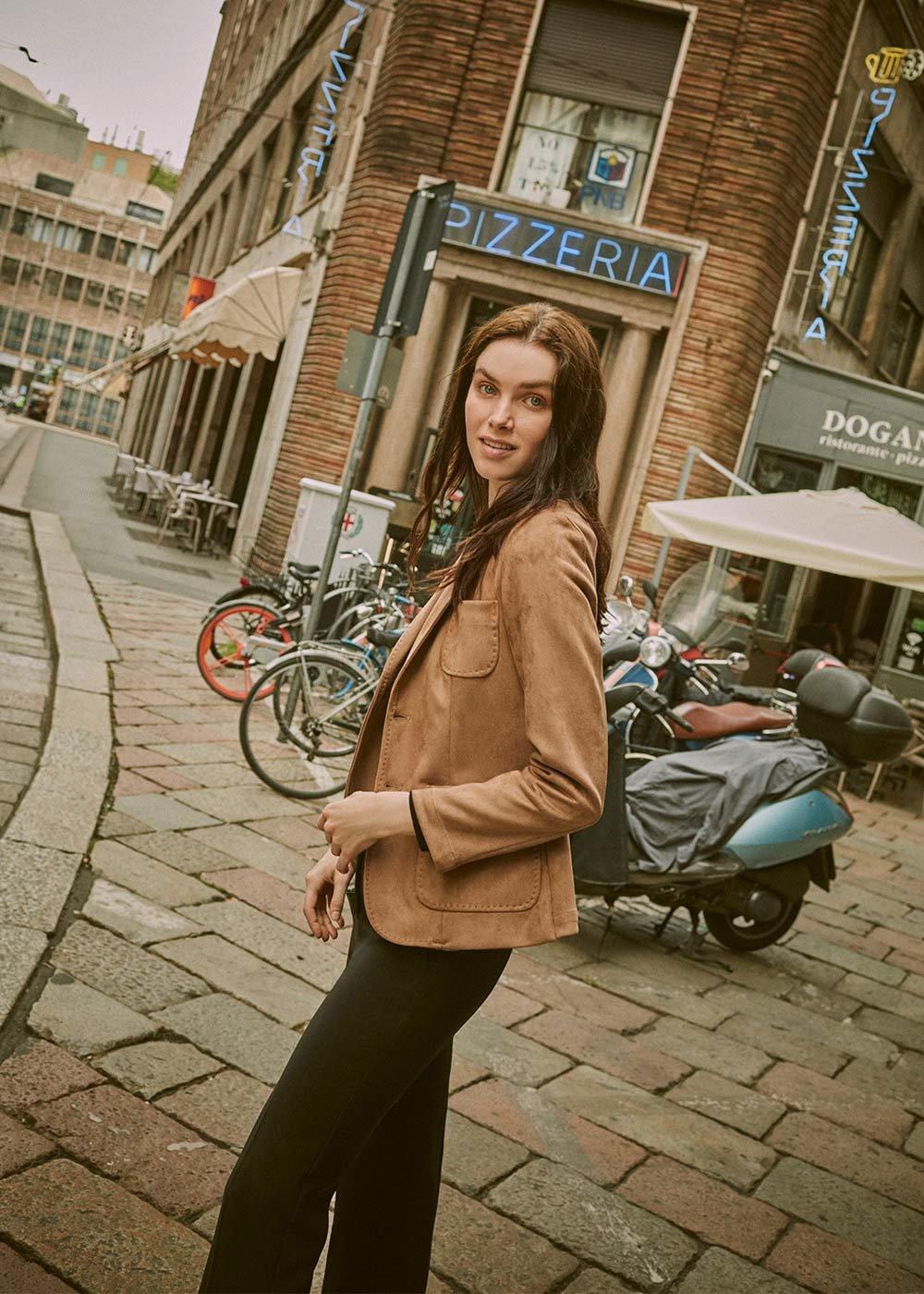 Kelly faux-suede jacket - Brown - Woman