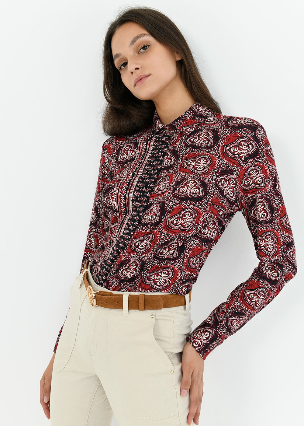 Alessia cashmere patterned shirt - Red Blue Multi - Woman