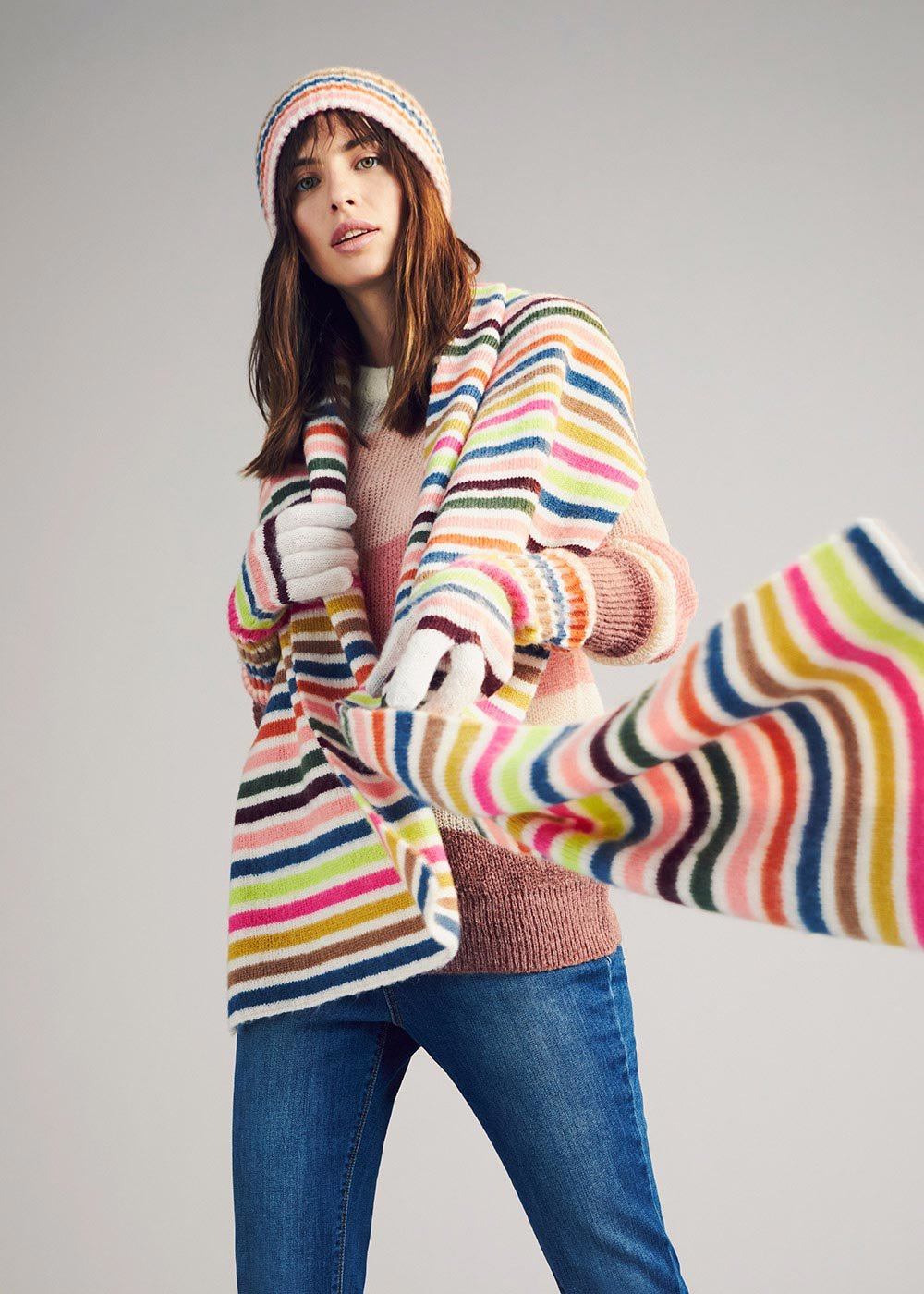 Sabri multicolour scarf - Ghiaccio Stripes - Woman