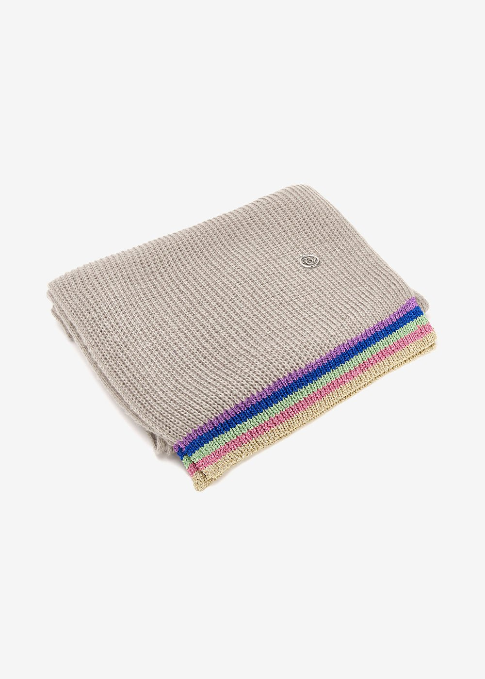 Sciarpa Shelli con bordino multicolor lurex - Medium Grey - Donna