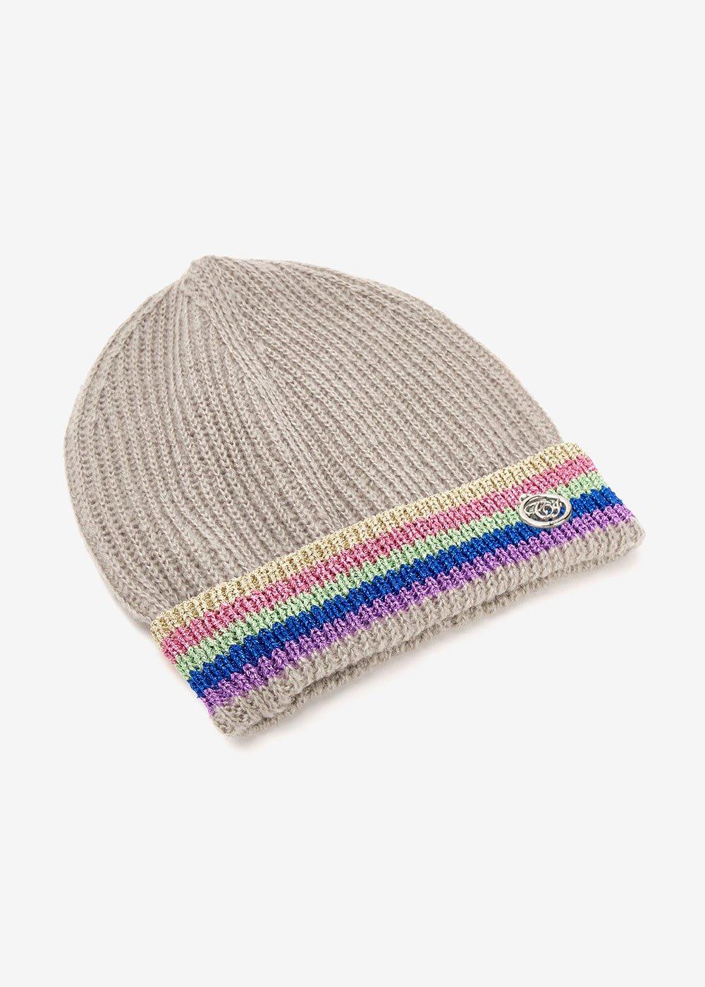 Cappello Chelli con bordino multicolor lurex - Medium Grey - Donna