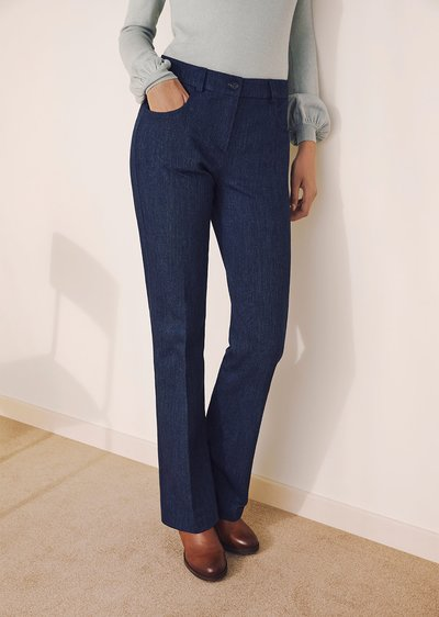 Cindy denim-effect cotton trousers