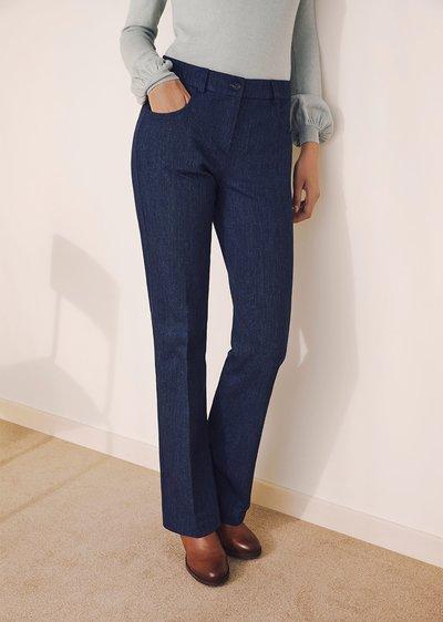 Cindy denim-effect cotton trousers
