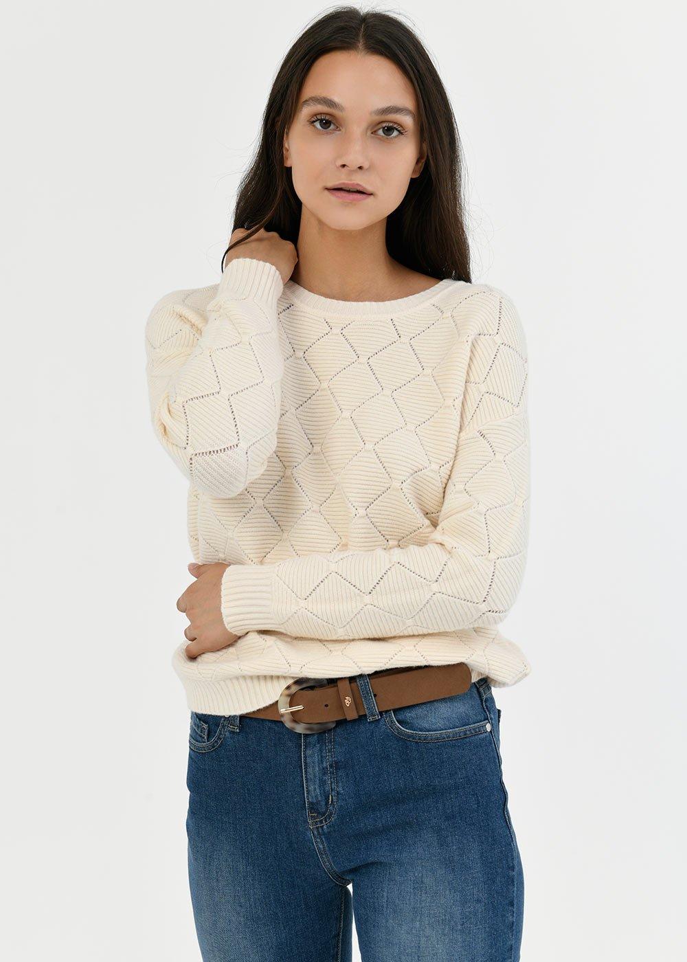 Mariel sweater with openwork stitch - Gauze White - Woman