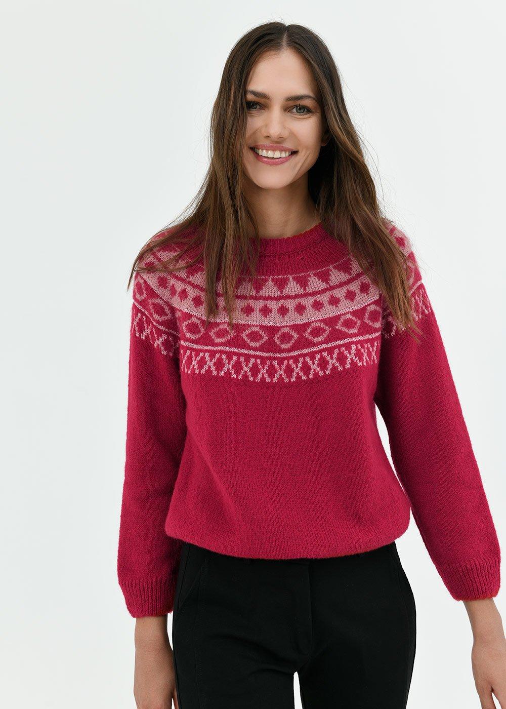 Merida wool sweater with Norwegian pattern - Porpora / Silver / Fantasia - Woman