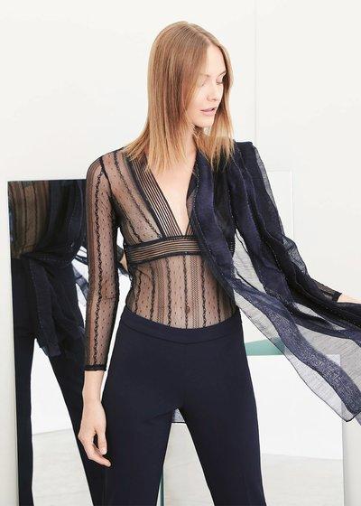 Suamy black lace bodysuit