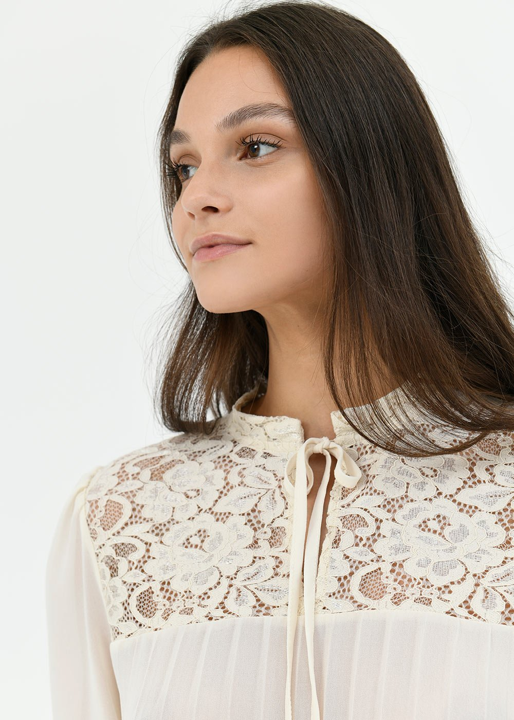 Sally blouse with lace - Chalk - Woman