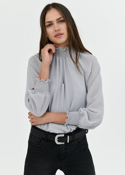 Sylvia high-necked blouse