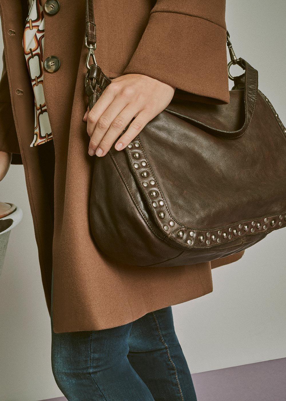 Benny genuine leather shoulder bag - Wood - Woman