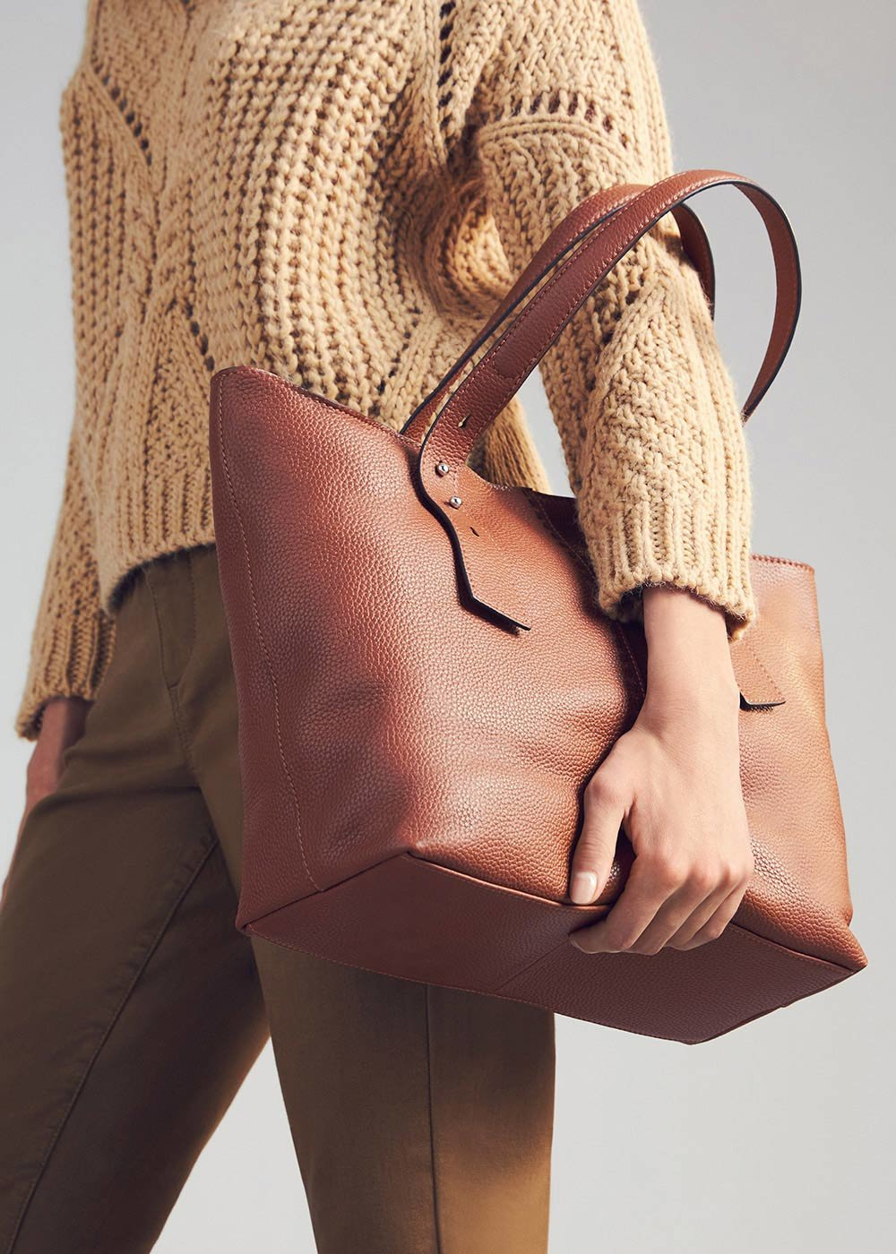 Shopping bag Beren in vera pelle - Miele - Donna