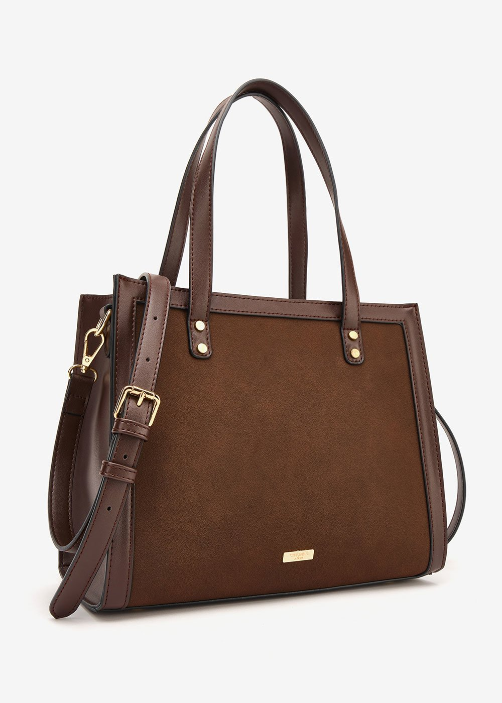 Britney faux-suede shopping bag - Wood - Woman