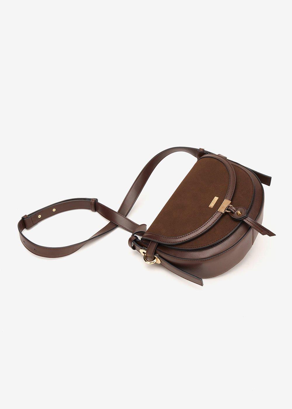 Backy faux-suede shoulder bag - Wood - Woman