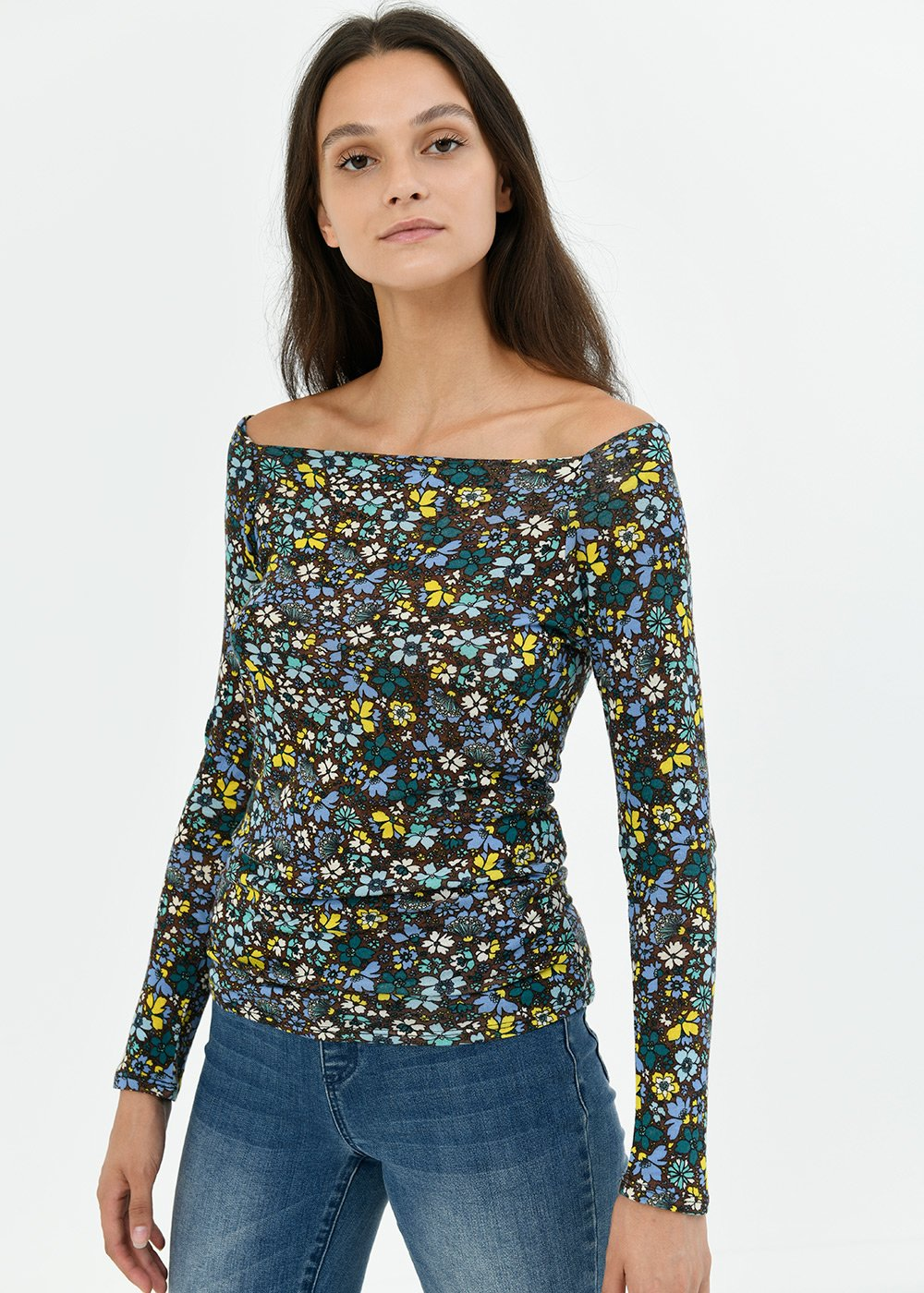 T-shirt Soel fantasia fiori - Cacao /  Pavone Fantasia - Donna