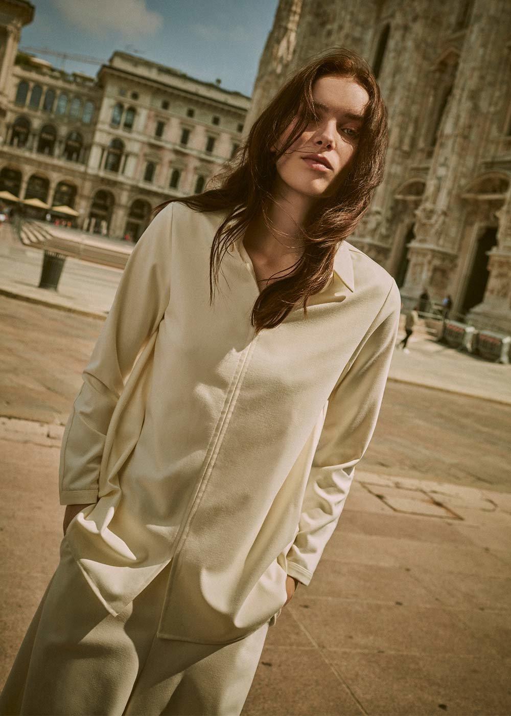 Blusa Clizia con scollo a V - White - Donna