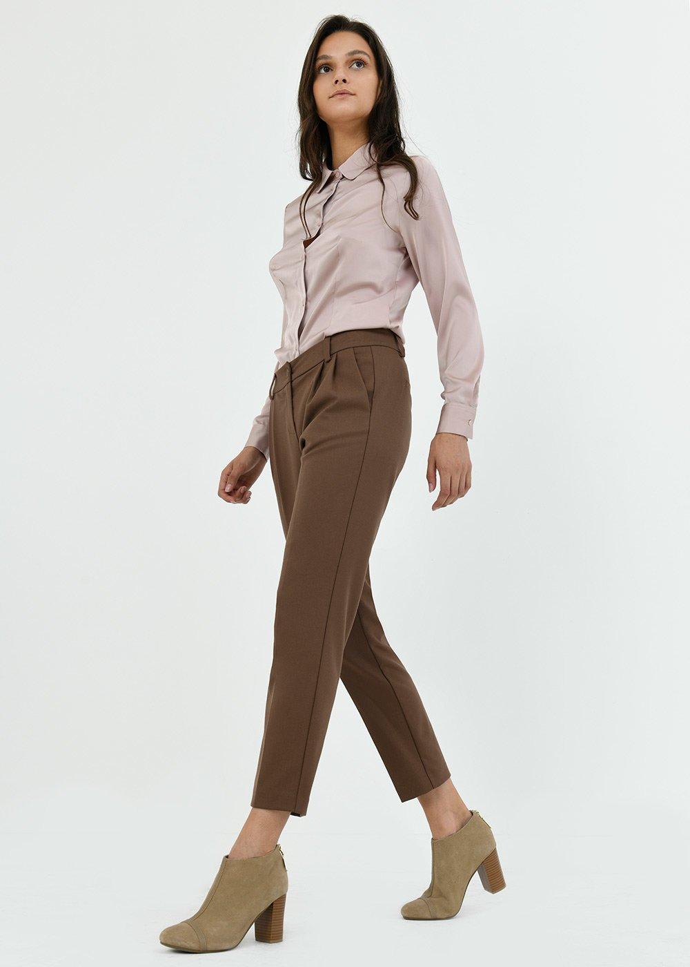 Pantalone Gigi con pince - Cacao - Donna