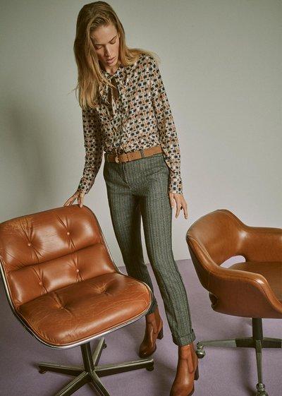 Bella trousers with herringbone effect