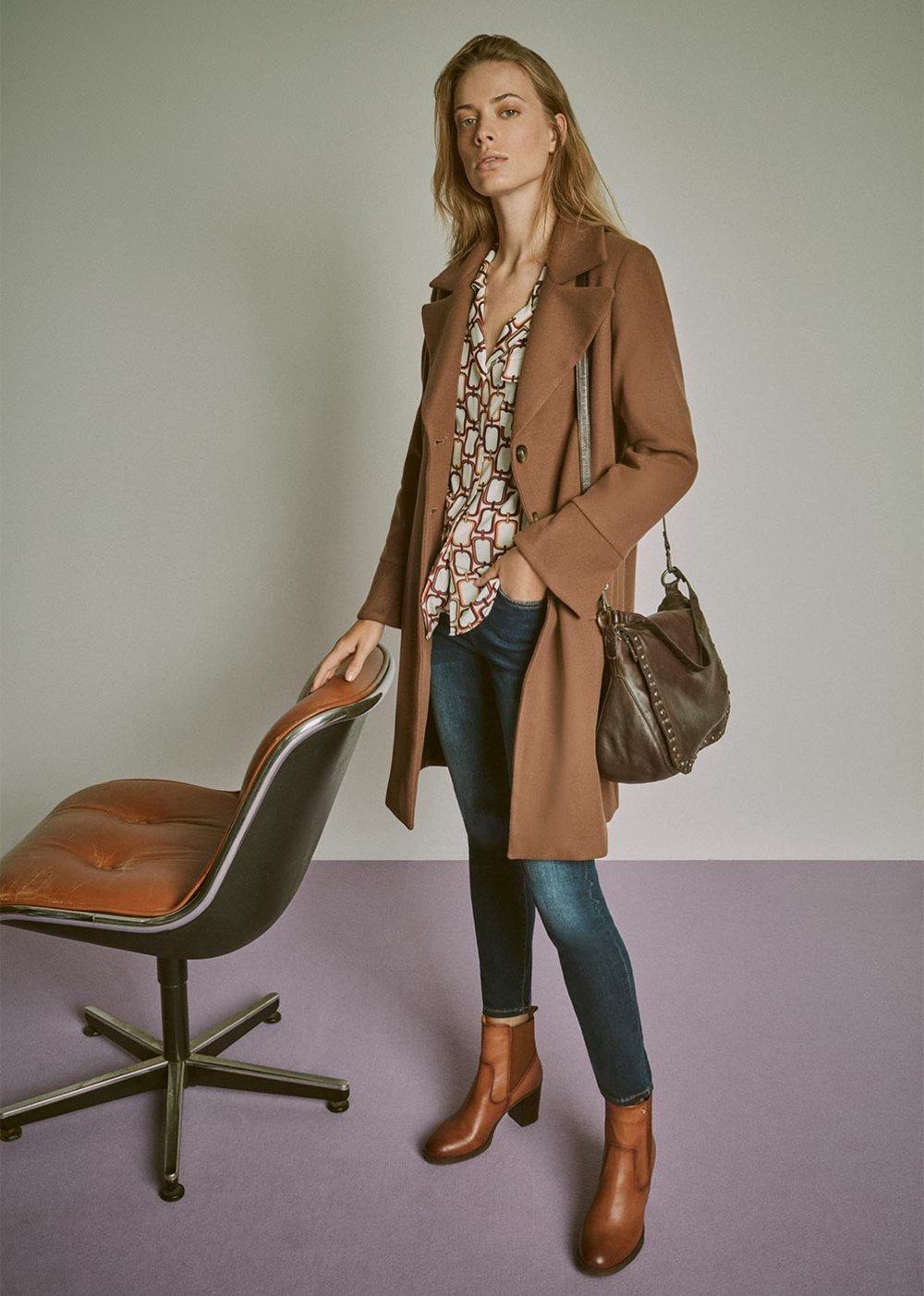Cloris cloth coat - Cocoa - Woman
