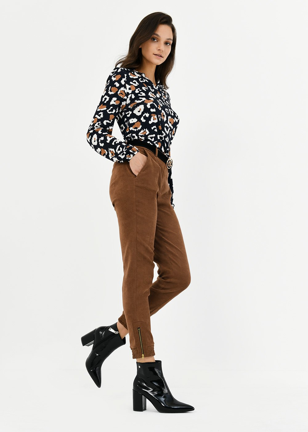 Jane trousers with elastic band on hem - Brown - Woman