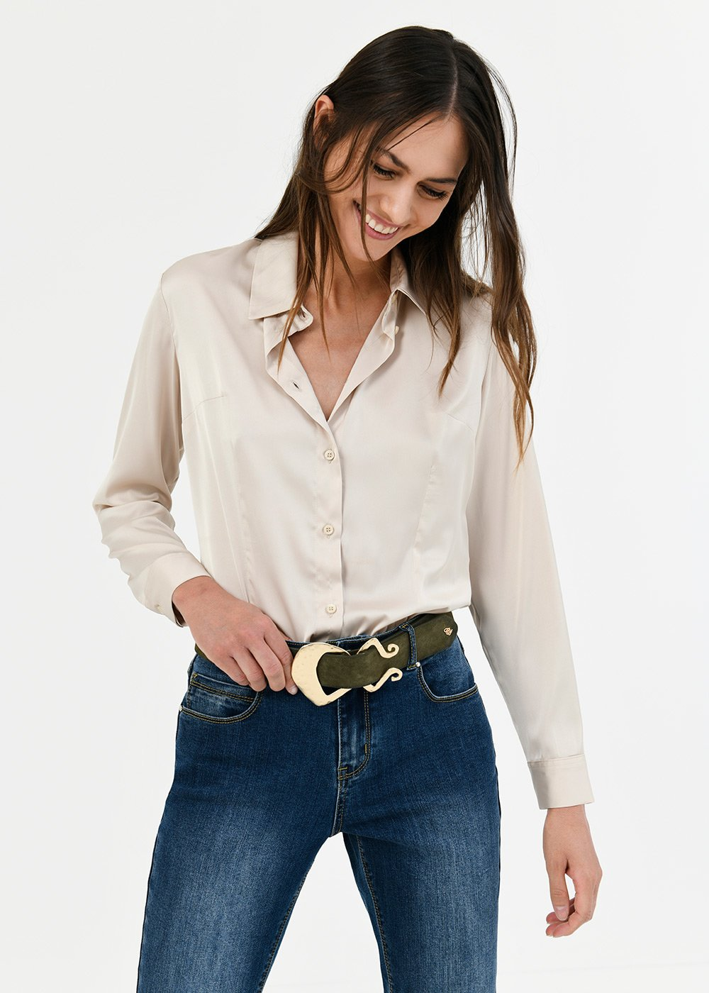 Alessia shirt with satin effect - Light Beige - Woman