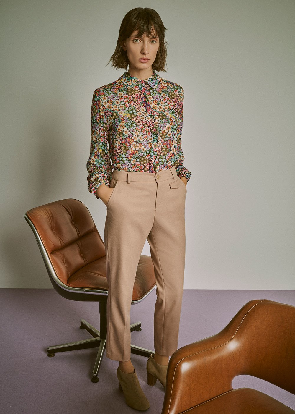 Cathy viscose shirt with flowers - Red Multi - Woman