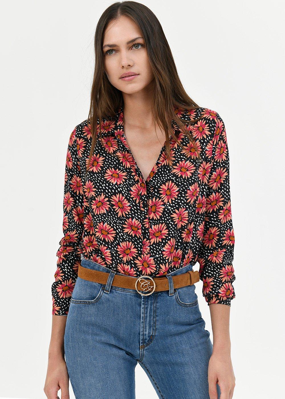 Camilla shirt with daisy print - Black /  Pink Multi - Woman