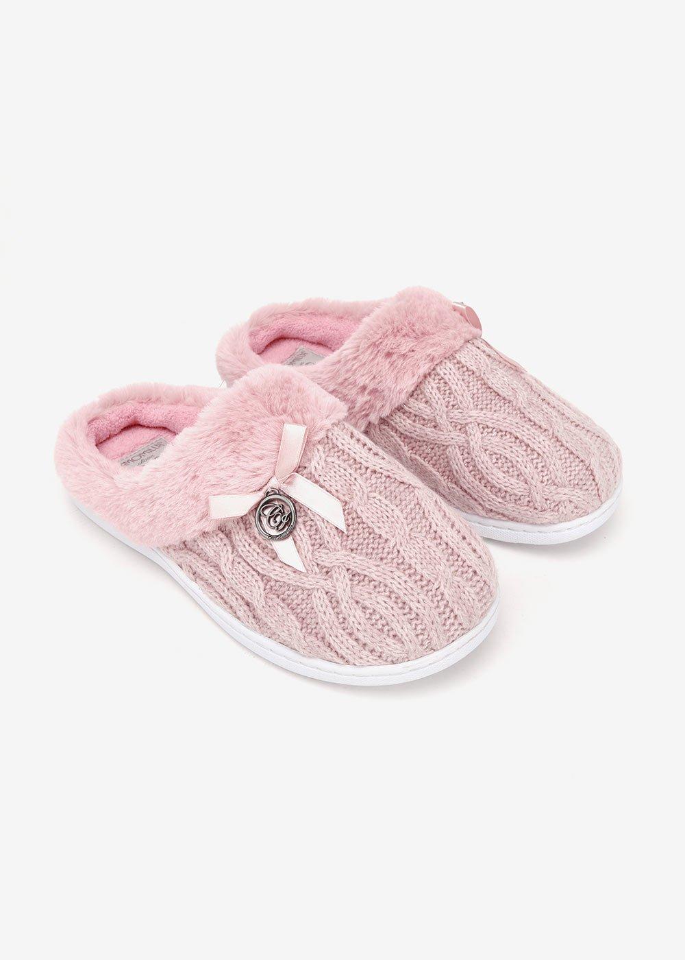 Pantofola Pessy in maglia - Cipria - Donna