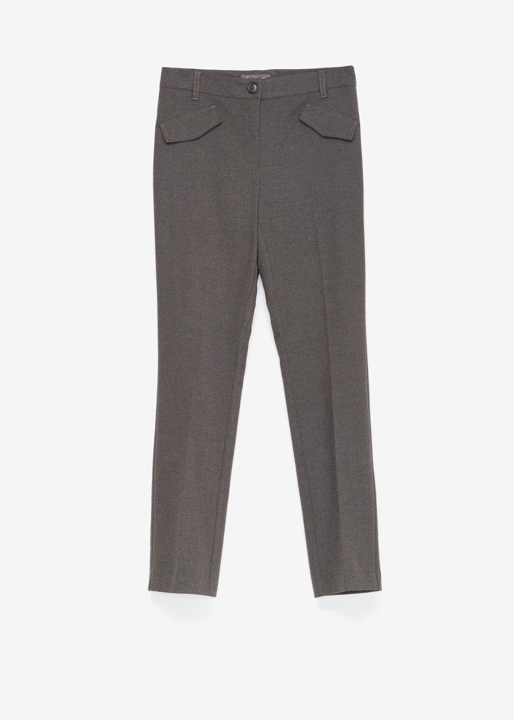 Pantalone Carrie in tessuto flanella - Dark Grey Melange - Donna