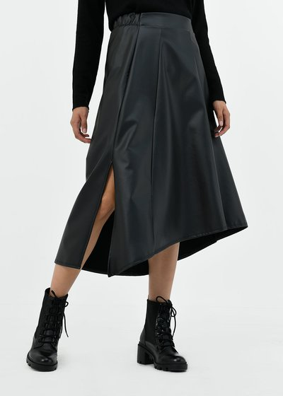 Gloria circle faux-leather skirt
