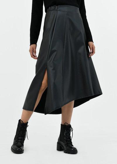 Gloria circle faux-leather skirt