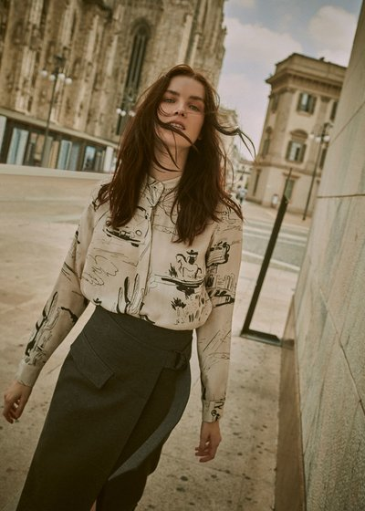 Corinne shirt with comic strip pattern