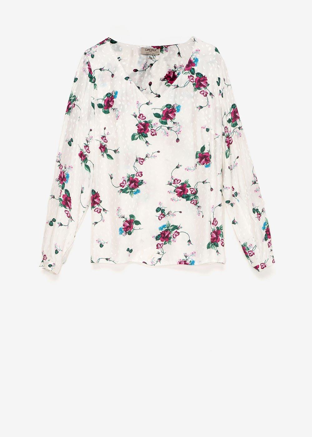 T-shirt Sabryna stampa fiori - Crema /  Porpora Fantasia - Donna