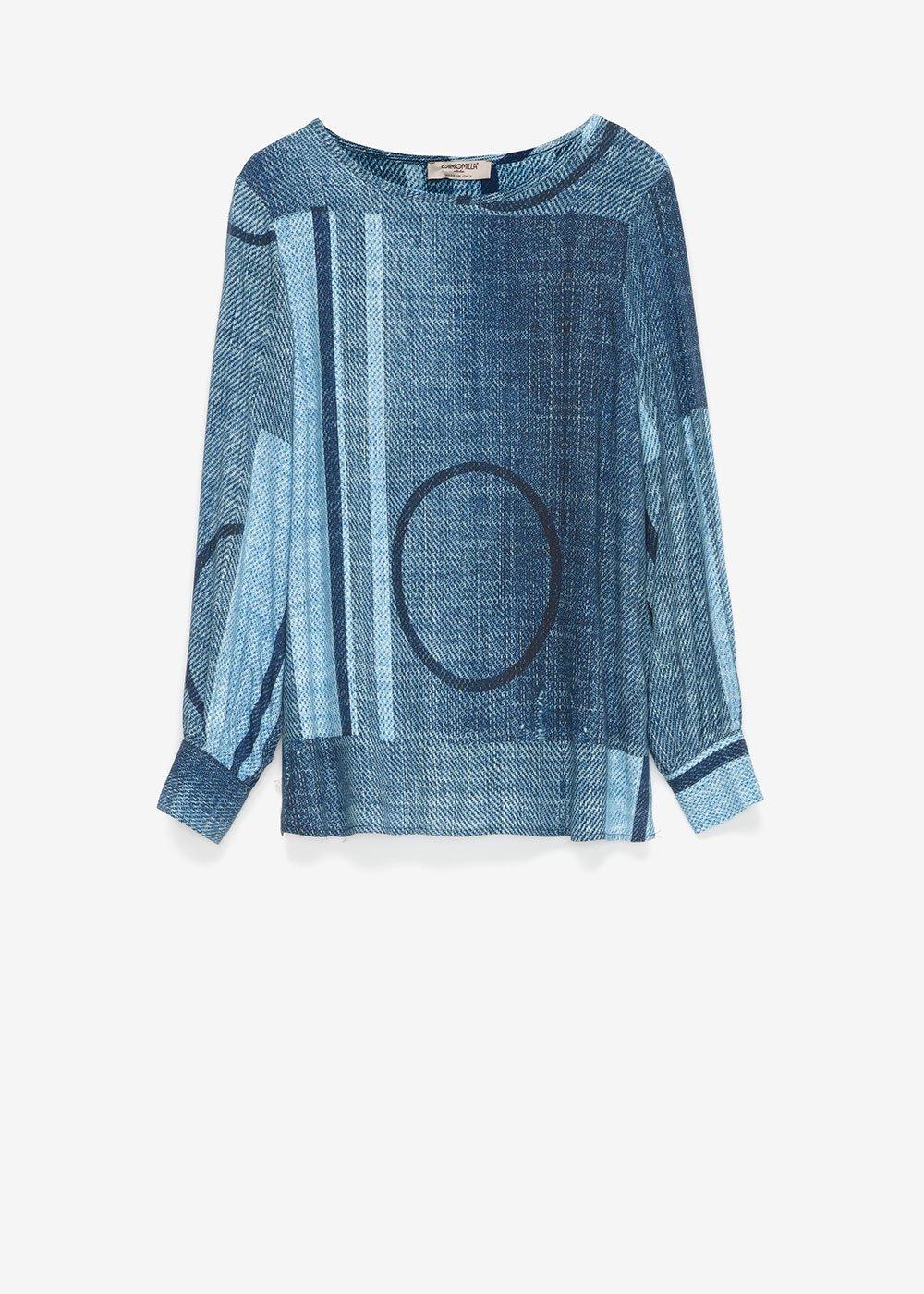 T-shirt Sophie effetto denim - Oltremare / Fog Fantasia - Donna